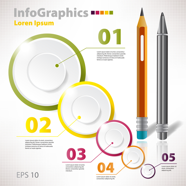 Pen with circle light infographic vector