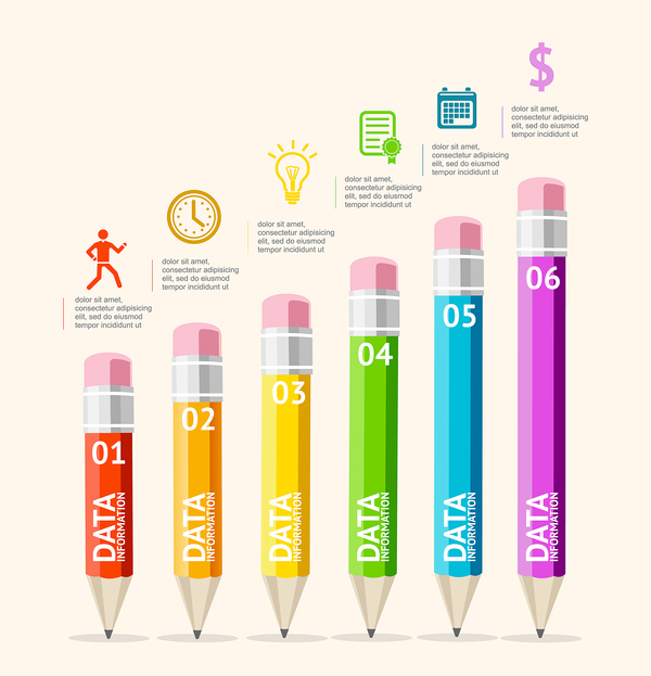 Pencil modern business infographic template vector material 01