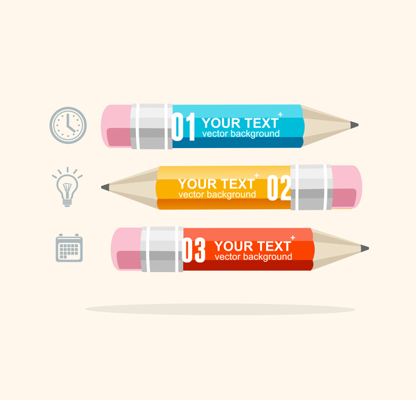 Pencil modern business infographic template vector material 03
