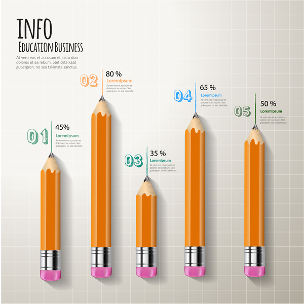 Pencil modern business infographic template vector material 07