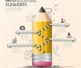 Pencil modern business infographic template vector material 09
