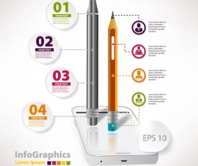Pencil modern business infographic template vector material 10