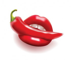 Pepper with red lips vector 02