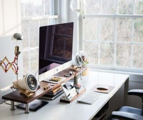 Personal computer desk Stock Photo