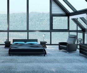Plush carpet black tone bedroom Stock Photo