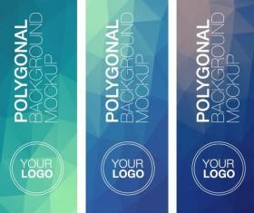 Polygonal vertical banners vectors set 01