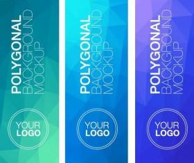 Polygonal vertical banners vectors set 03