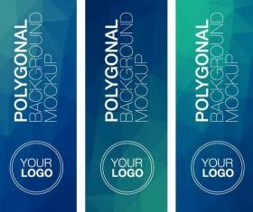 Polygonal vertical banners vectors set 04