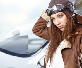 Private aircraft female driver Stock Photo