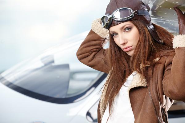 Private aircraft female driver Stock Photo