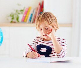 Pupils doing homework Stock Photo