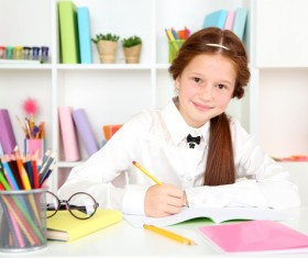 Pupils who write homework Stock Photo