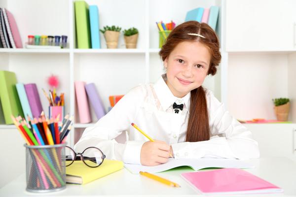 Pupils who write homework Stock Photo