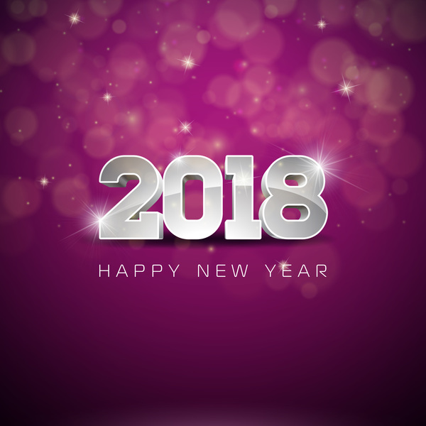 purple 2018 new year background design vector