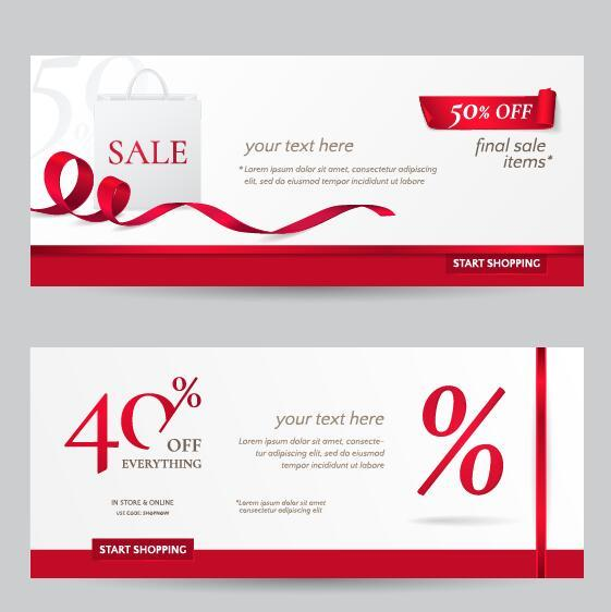 Rec ribbon with discount sale banner vector