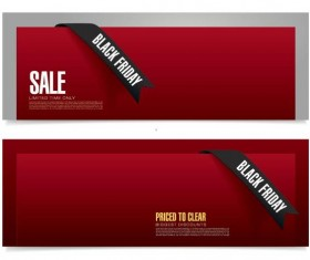 Red black firday sale banners vector