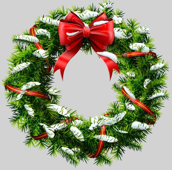 Christmas Wreath Vector.Red Bow With Christmas Wreath Vector Material Free Download