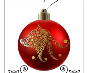 Red christmas ball with new year dog frame vector 01