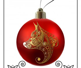 Red christmas ball with new year dog frame vector 03