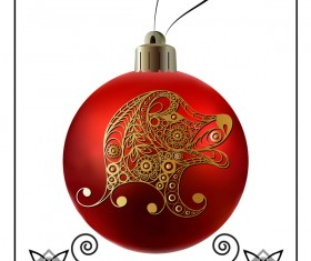 Red christmas ball with new year dog frame vector 04