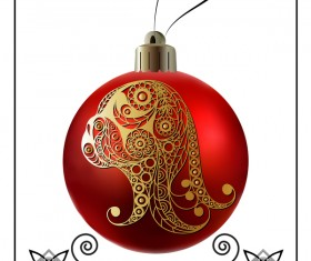Red christmas ball with new year dog frame vector 05