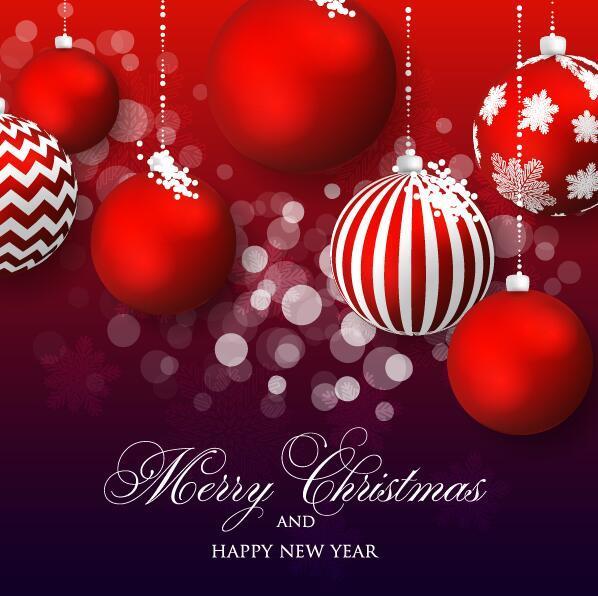 Red christmas balls decor with shiny xmas card vector