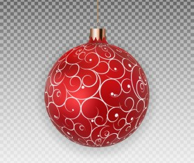 Red floral xmas baubles illustration vector