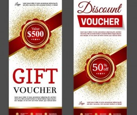 Red gift discount voucher template vector