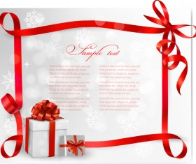 Red ribbon frame with christmas card vector