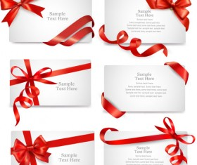 Red ribbon with christmas card template vector