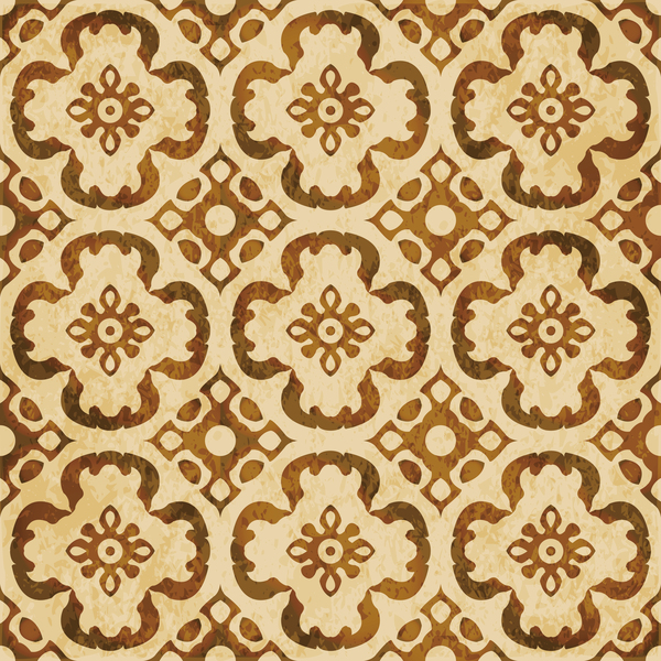 Retro kaleidoscope floral seamless pattern vector 01