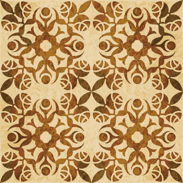 Retro kaleidoscope floral seamless pattern vector 02