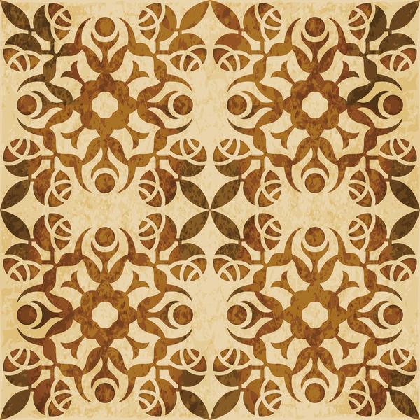 Retro kaleidoscope floral seamless pattern vector 02