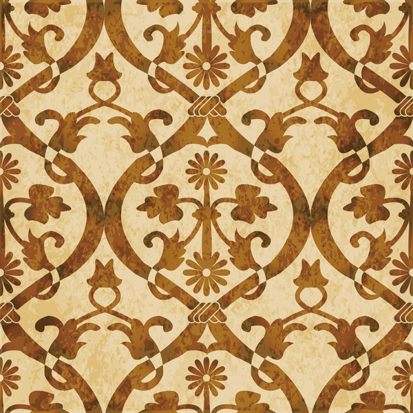 Retro kaleidoscope floral seamless pattern vector 07