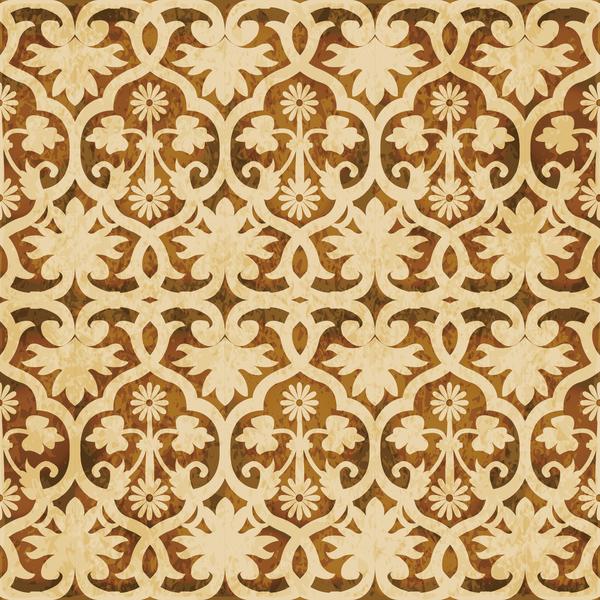 Retro kaleidoscope floral seamless pattern vector 09
