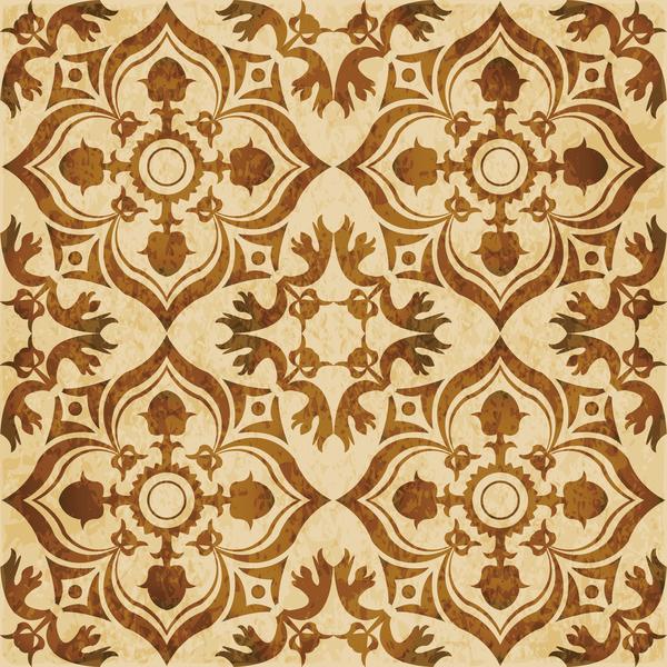 Retro kaleidoscope floral seamless pattern vector 10