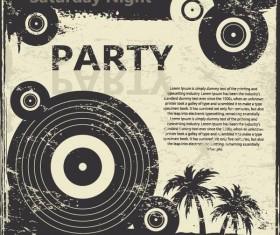 Retro party flyer teplate design vector 01