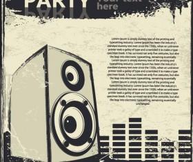 Retro party flyer teplate design vector 03