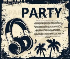 Retro party flyer teplate design vector 04