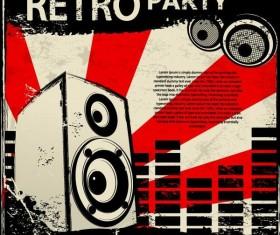 Retro party flyer teplate design vector 05
