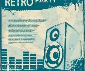 Retro party flyer teplate design vector 06