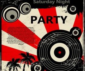 Retro party flyer teplate design vector 07