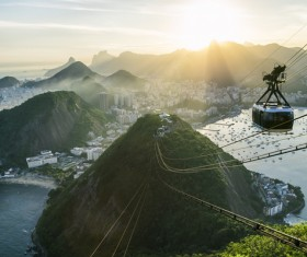 Rio De Janeiro sugar bread mountain cable car Stock Photo 02