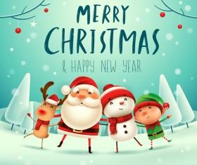 Santa friends with christmas card vector 01