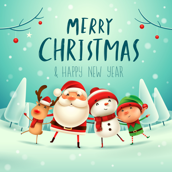 Santa Friends With Christmas Card Vector 01 Free Download