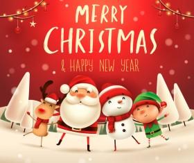 Santa friends with christmas card vector 02