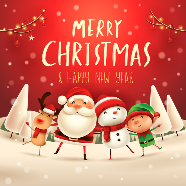 Santa friends with christmas card vector 02