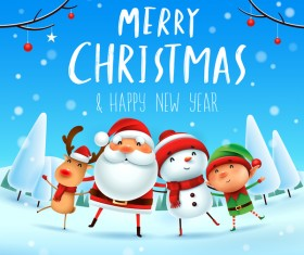 Santa friends with christmas card vector 03