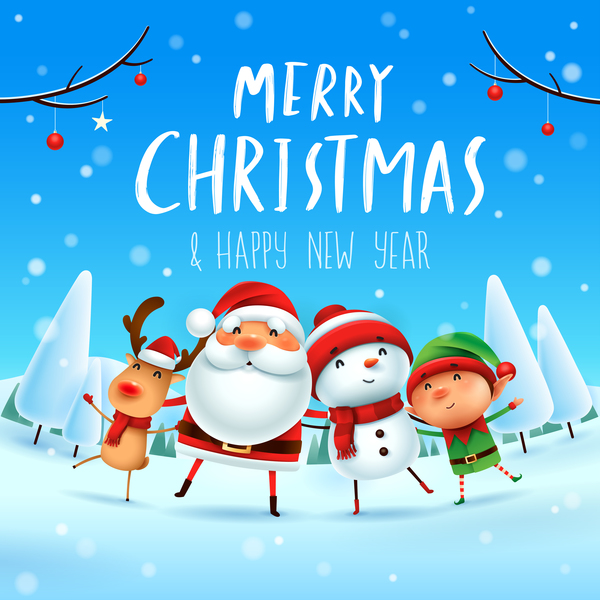 Santa friends with christmas card vector 03