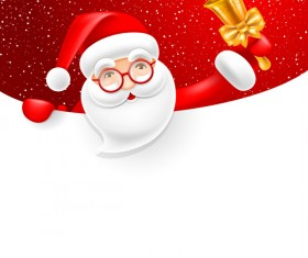Santa with bell and blank christmas background vector 01